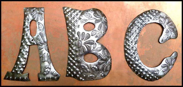 Metal letter - Decorative wall decor - address - Haitian steel drum