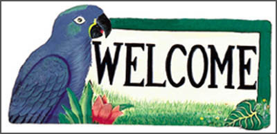 painted metal parrot welcome sign