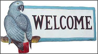 painted metal parrot welcome sign - african grey