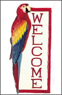 Hand painted metal welcome sign. tropical decor  Parrots - Scarlet Macaw