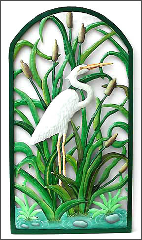 Hand painted metal wall hanging. Steel drum art. -White Egret