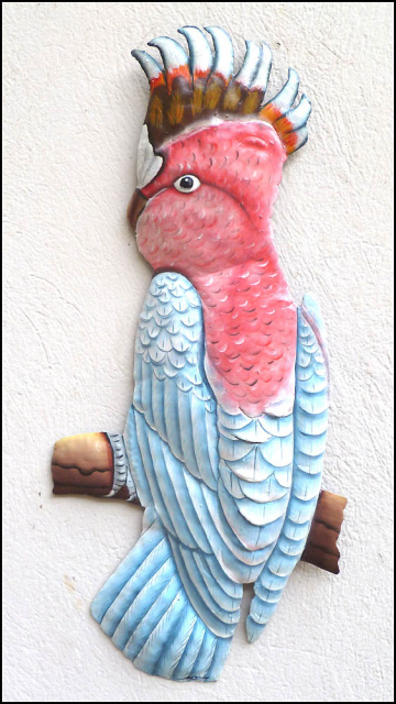 Major Mitchel Cocotoo Parrot - Hand Painted Metal