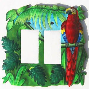 Painted metal switchplate cover - parrot