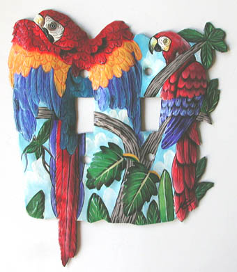 Parrot metal switchplate - Hand Painted