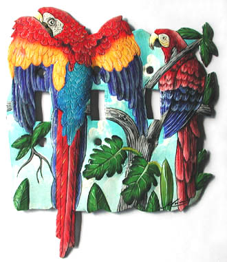 Painted metal parrot switchplate cover