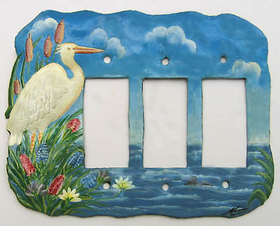 Painted metal rocker switchplate cover - white egret