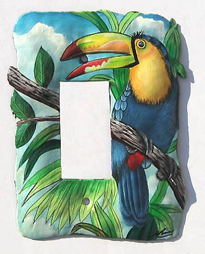 Painted metal toucan switchplate