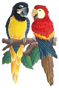 Painted Metal Parrots from Tropic Decor - Tropical designs, birds, tropical fish, shells, egrets, Caribbean houses, butterflies, turtles, frogs. Painted metal wall decor and stained glass suncatchers.