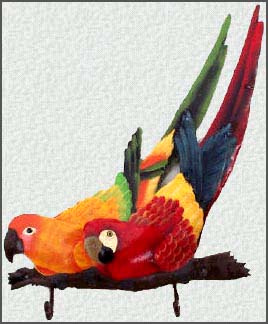 Hand painted metal tropical parrot wall hook. scarlet macaw