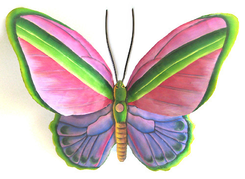 Hand Painted Metal Butterfly Wall Hanging in Pink & Purple - 12