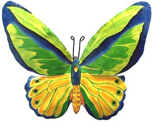 Bright Green Butterfly Art Wall Decor - Painted Metal Design - 12