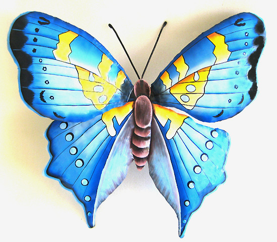 Hand Painted Blue & Yellow Butterfly Design - Metal Wall Hanging - metal art