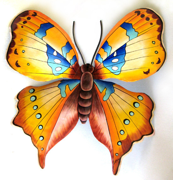 Butterfly Wall Decor Painted Metal Garden Design Metal Art Outdoor Wall Decor 29 X 34