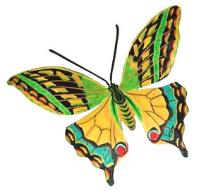 Painted Metal Green - Gold & Turquoise Butterfly Wall Decor - 9