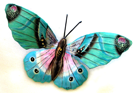Large Aqua Butterfly Wall Hanging - Metal Butterfly Wall Decor  - Hand painted metal butterfly decor from Tropic Accents