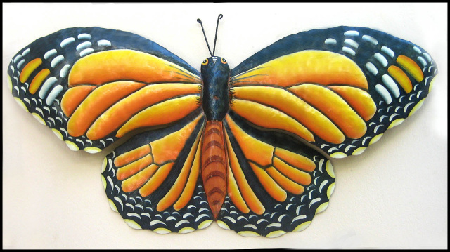 Monarch butterfly wall hanging, Painted metal butterfly