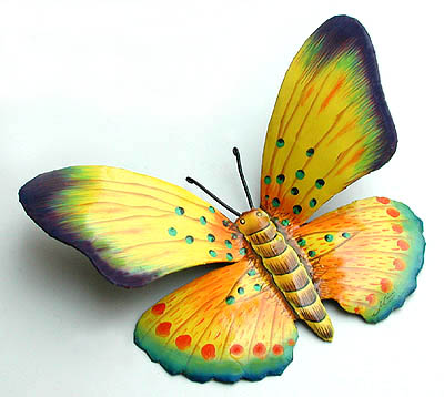 Hand Painted Metal Butterfly Wall Art - 13