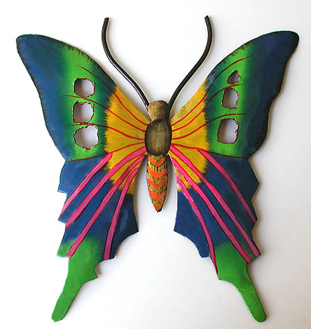 Painted Butterfly Wall Hanging Metal Outdoor Art 21