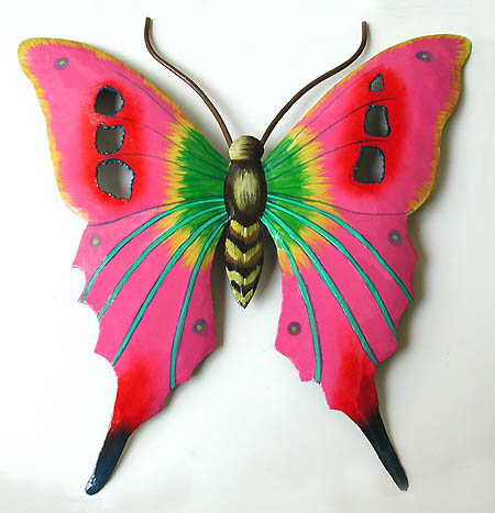 Hand Painted Metal Bright Pink Butterfly Wall Art - Outdoor garden art