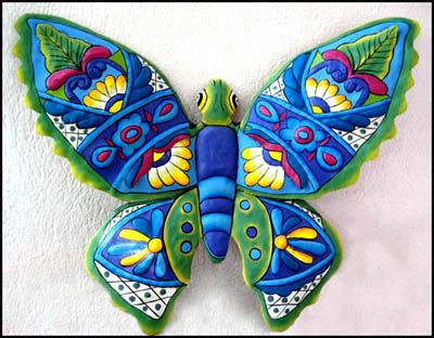 Blue Painted Metal Butterfly Wall Decor 14