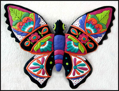 Hand Painted Butterfly - Metal Garden Art - 19