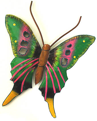 Hand Painted Green & Pink Butterfly - Caribbean Steel Drum Art - 21
