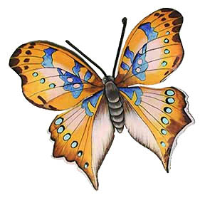 "Hand Painted Metal Butterfly in Shades of Brown - 8 1/2"" x 11"""