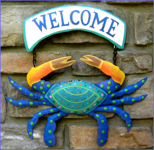 Hand Painted Metal Crab Welcome Sign Beach Decor Coastal Decor Hand Cut From Recycled Steel