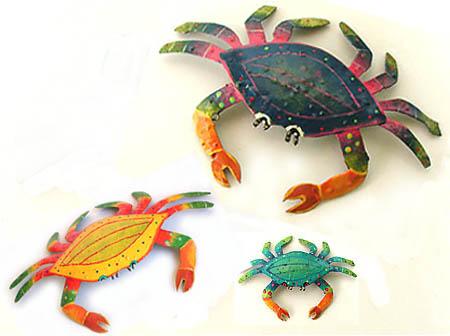 Crabs Metal Art - Tropical Decor, Garden Art, Hand Painted Metal ...