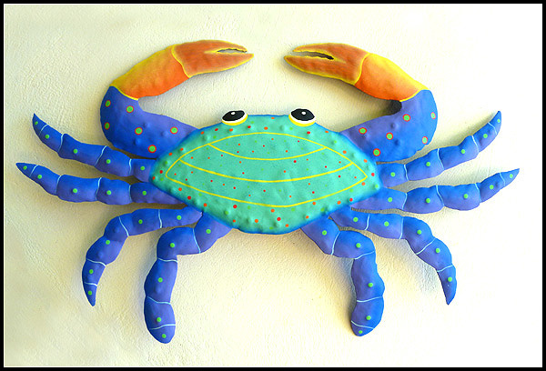Metal crab wall decor painted metal art tropical patio wall art 15 view images