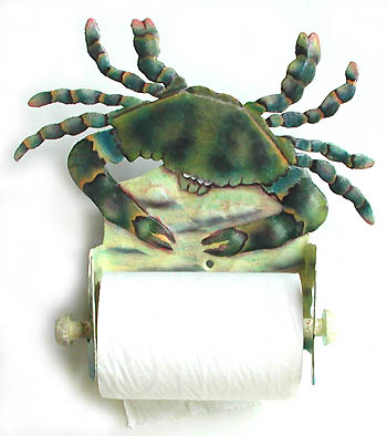Blue Crab Toilet Paper Holder in Painted Metal Tropical Bathroom Decor - 9 1/2""