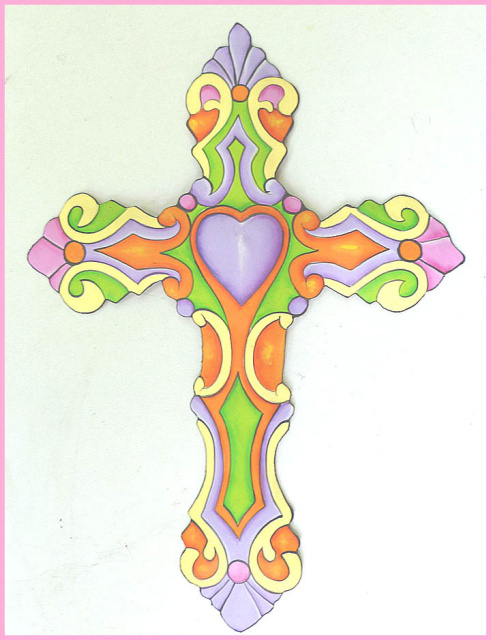 painted metal Christian cross wall decor