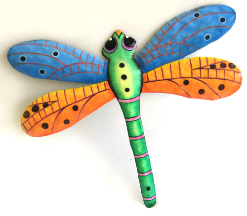 Painted metal dragonfly outdoor decoration. Garden decor. Tropical Wall Hanging
