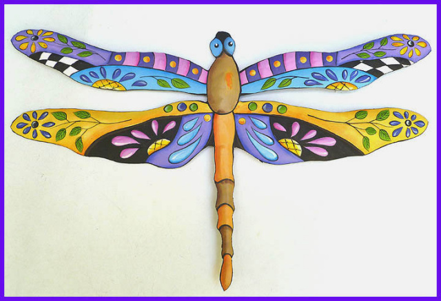 Painted Metal Dragonfly Wall Hanging Tropical Decor Handcrafted Art 24