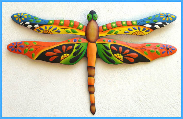 hand painted metal dragonfly wall decor