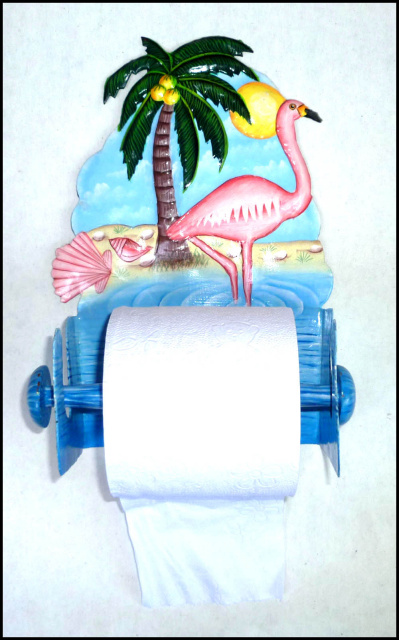 painted metal flamingo toilet paper holder