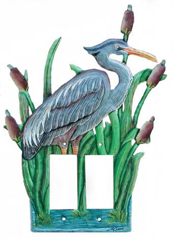 Blue heron rocker switchplate - Hand painted metal