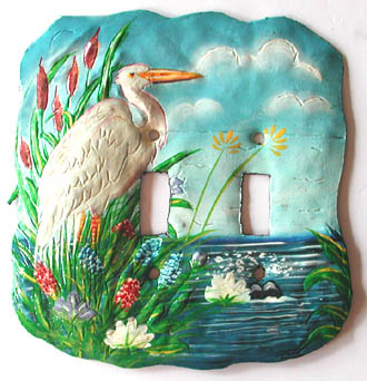 egret switchplate cover - painted metal