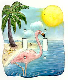 Flamingo switchplate cover - painted metal