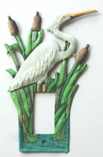 Painted metal switchplate cover - Egret