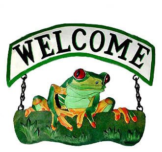 painted metal frog welcome sign