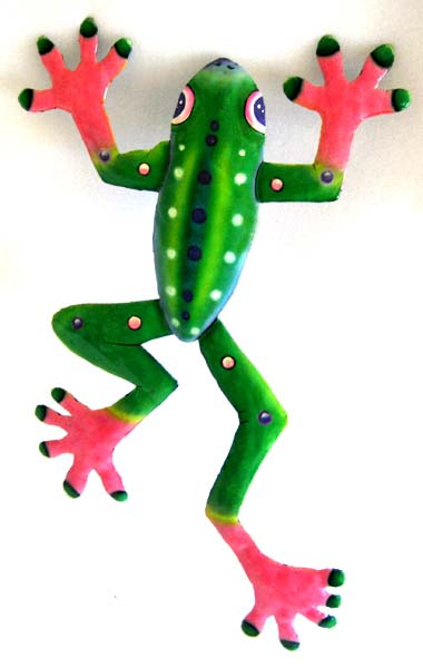 Haitian Painted Metal Green & Pink Frog Garden Art - Handcrafted ...