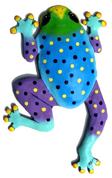 Painted Metal Frog Wal Hanging