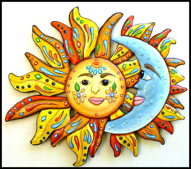 Painted metal sun and moon metal art wall hanging garden art