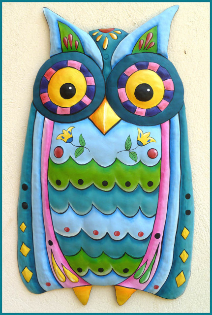 painted metal blue owl wall hanging