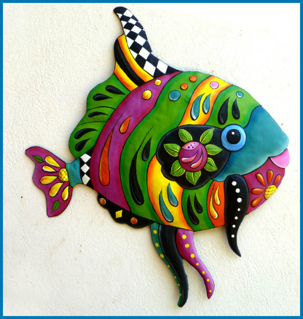 painted metal tropical fish wall art - island decor