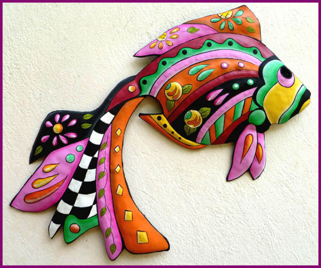 Painted Metal Tropical Fish Wall Hanging - Garden art