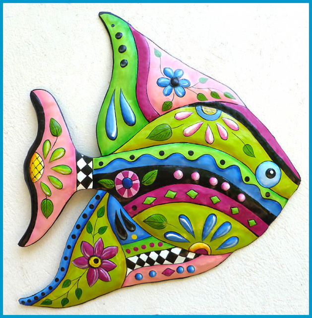 hand painted metal tropical fish wall hanging