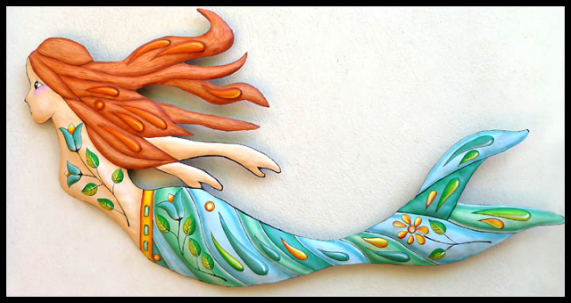 Painted Metal Mermaid Wall Hanging