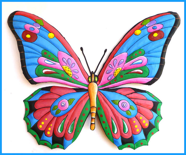 Butterfly Wall Hanging Outdoor Metal Wall Art Outdoor Wall Decor Haitian Art Painted Metal Garden Decor Haitian Metal Art 24